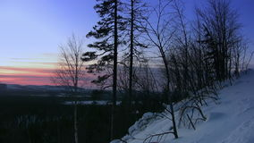 Winter sunset stock footage