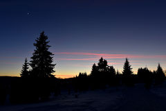 Winter sunset in the mountains Royalty Free Stock Photo