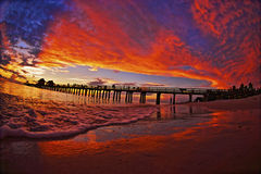 Winter Sunset Naples Pier. Sunset in Naples,Fl on the the Gulf of Mexico Royalty Free Stock Images