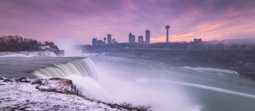 Winter Sunset at Niagara Falls. This is a sunset from the New York side of Niagara Falls in winter time Royalty Free Stock Image