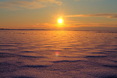 North Sea. Winter sunset on the North Sea Stock Photography