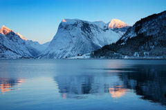 Winter sunset, Norwegian coast Stock Photography