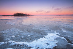 Winter sunset on the ocean Royalty Free Stock Photography