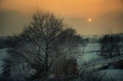 Winter Sunset over Aachen, Germany royalty free stock photography