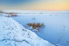 Winter sunset over frozen pond Stock Photos
