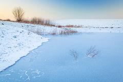 Winter sunset over frozen pond Stock Images