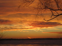 Winter Sunset over Grosse Isle Michigan Royalty Free Stock Photography