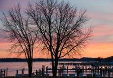 Winter sunset over marina Royalty Free Stock Image
