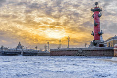 Winter sunset over the palace bridge in St. Petersburg Stock Images