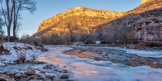 Free Winter Sunset Over Poudre River Stock Photo - 64489720