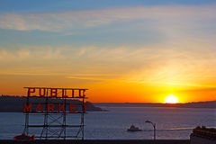 Winter sunset over Puget Sound near Pike Market Stock Image