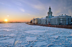 Winter sunset over the river Neva Stock Image