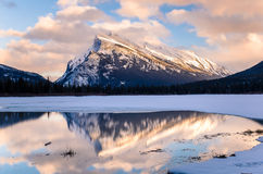 Winter Sunset over Vermilion Lakes and Mount Rundle Stock Photography