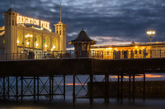 Winter sunset over Victorian pier in Brighton. Stock Image