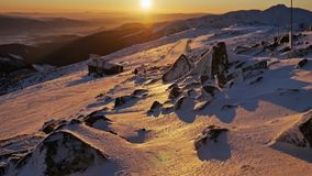 Winter Sunset Panorama Beautiful View. Footage of a beautiful sunset on top of the Jasna, Chopok mountain stock video