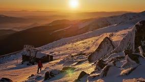 Winter Sunset Panorama Beautiful View. Footage of a beautiful sunset on top of the Jasna, Chopok mountain stock video footage