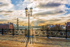 Winter sunset on the Patriarchal bridge in Moscow royalty free stock image