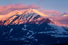 Winter sunset on Petite and Grande Autane, Champsaur, Alps, France. Winter sunset on the Petite and Grande Autane mountain peaks. Saint Leger les Melezes royalty free stock photography