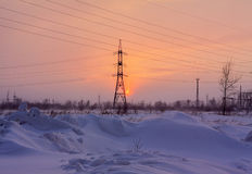 Winter sunset on power station Stock Photography