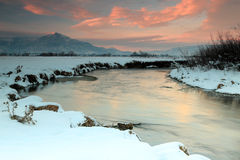 Winter sunset at the Provo River. Stock Images