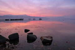 Winter sunset reflection Royalty Free Stock Photos