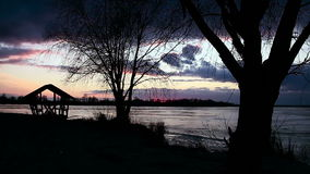 Winter Sunset on The River. Winter Sunset on The Frost River stock footage
