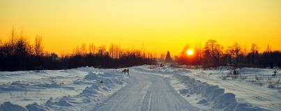 Winter sunset on the Road Royalty Free Stock Photography