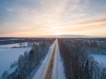 Winter sunset. Russia, Moscow suburbs Royalty Free Stock Image