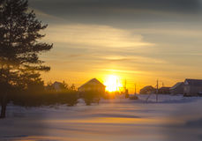 Winter sunset in the Russian countryside. Stock Photo