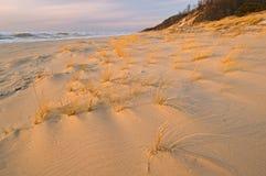 Winter Sunset Saugatuck Dunes. State Park, Michigan, Lake Michigan, USA Stock Photo