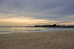 Winter sunset on the sea. Landscape with winter sunset on the sea stock photography