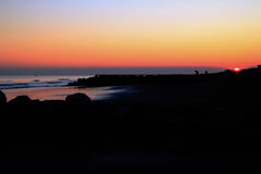 Winter sunset at seaside Stock Photography
