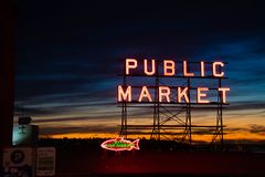 Pike place market at sunset royalty free stock photo