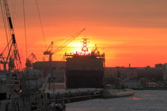 Winter sunset with ships stock photo