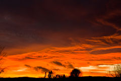 Stormy Sunset Sky. Dramatic stormy sky at sunset in winter royalty free stock photography