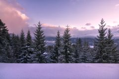 Winter sunset in the snowy Tyrol royalty free stock photo