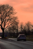 Winter sunset street Royalty Free Stock Image