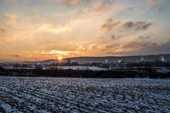 Winter Sunset sunrise Land landscape Snow white colorful 2 Stock Images