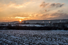 Winter Sunset sunrise Land landscape Snow white colorful Royalty Free Stock Image
