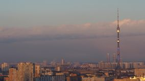 Winter sunset time lapse involving Ostankino TV tower, Moscow, Russia. 4K stock video footage