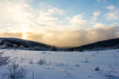 Winter Sunset. Winter time snow in Canada Royalty Free Stock Photos