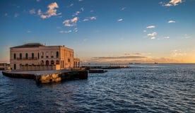 Winter sunset on the Tuscany sea Royalty Free Stock Image