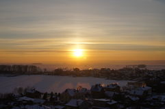 Winter sunset. On the Volga royalty free stock photos