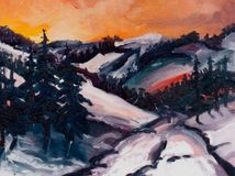 Winter sunsets. Above mountains stock illustration