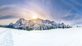 Winter sunshine over snowy mountains Royalty Free Stock Images