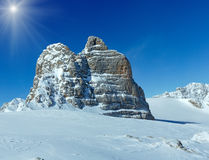 Winter sunshiny Dachstein mountain massif Stock Images