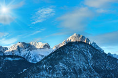 Winter  sunshiny mountain top landscape  Austria. Royalty Free Stock Photo