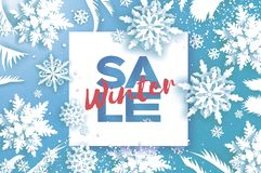 Winter Super Sale Banner. Merry Christmas and Happy New Year card. White Paper cut snowflakes. Origami Wintertime stock illustration