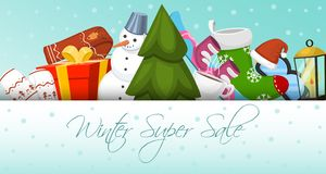 Winter super sale banner vector illustration. Nature landscape with Christmas tree, snowmen, sledge, snowboard, hat stock illustration