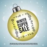 Winter super sale. Christmas ball with black snowflakes. Vector illustration Royalty Free Stock Photos